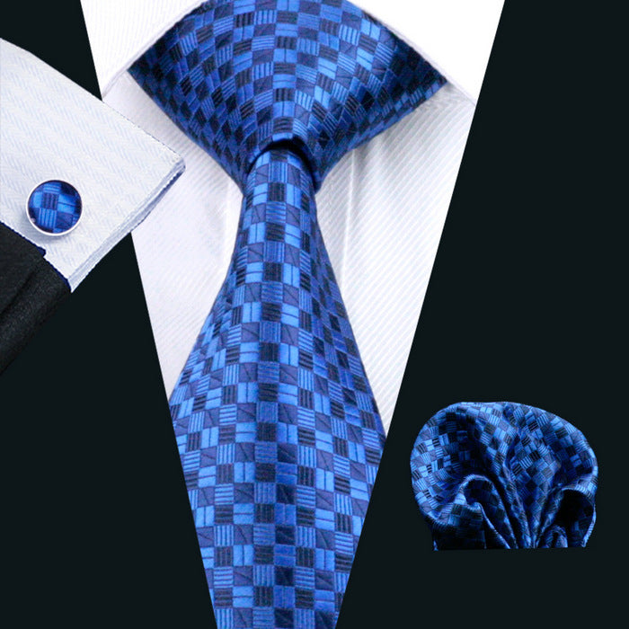 Royal Blue Patterned Men's Tie, Pocket Squares & Cufflinks Set.