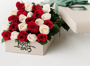 24 Red & White Mixed Roses Gift Box