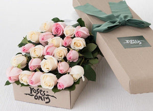 24 Pastel Mixed Roses Gift Box