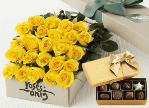 24 Yellow Roses Gift Box & Gold Godiva Chocolates