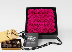 25 Stunning bright pink infinity roses, beautifully presented in a black box and Gold Godiva Chocolates