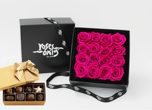 16 Stunning bright pink infinity roses, beautifully presented in a black box and Gold Godiva Chocolates