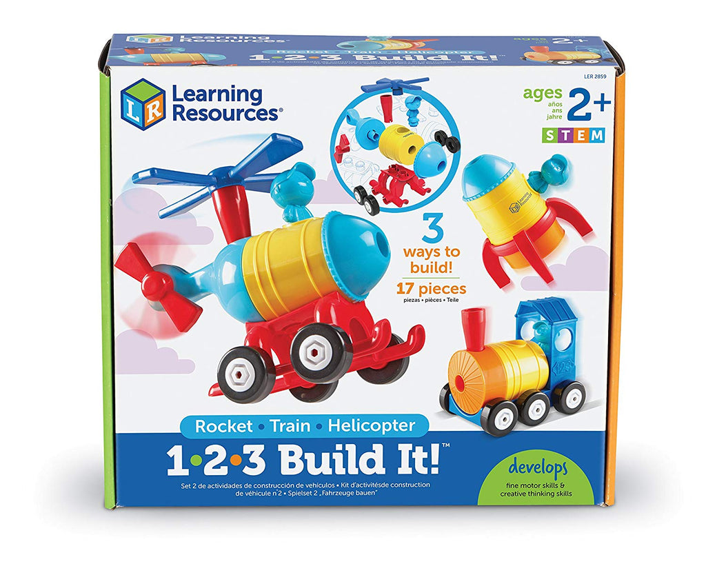 Learning Resources - LER2859 | 1-2-3 Build It!: Rocket, Train, Helicopter
