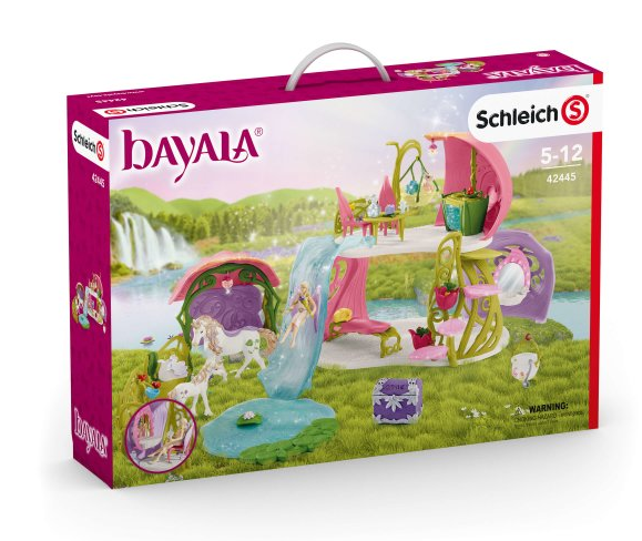 Schleich - 42445 | Bayala: Glittering Flower House With Unicorns, Lake, and Stable