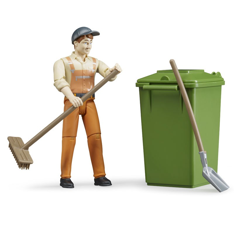 Bruder - 62140 | Municipal Worker with Recycling Bin, Shovel, and Broom