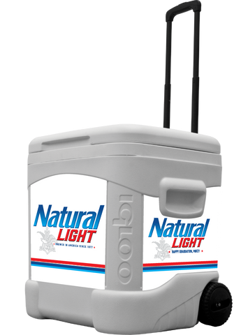 Natural Light Personalized 60 qt Rolling Cooler