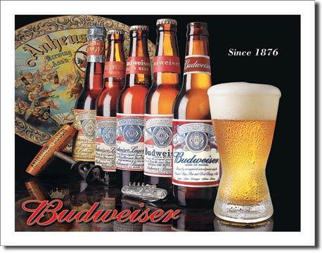 History of Bud Metal Sign