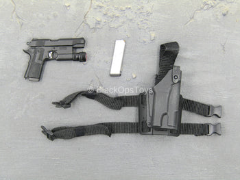 LAPD - SWAT - Black 1911 Pistol w/Tac Light & Drop Leg Holster