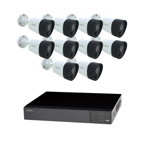 16 Channel Analog HD 5MP PIR DVR with (10) 5MP PIR Bullet Cameras and 2TB HDD (QTH167-10HN-2) ANALOG HD KIT  - Q-See