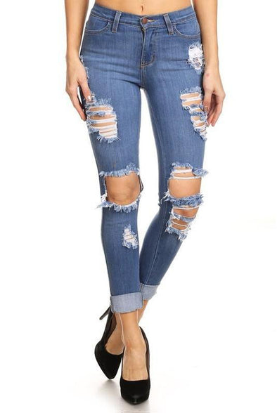 Watch Me Work High Waist Distressed Jeans