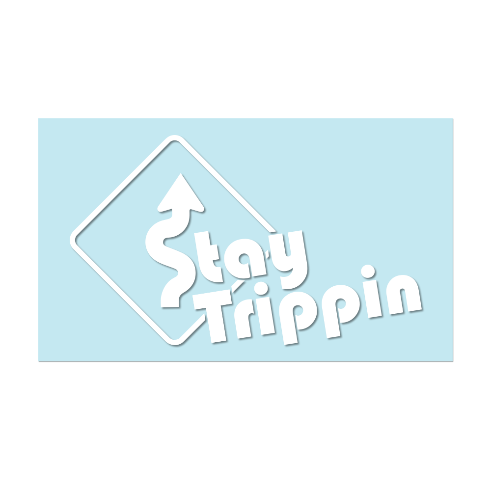 "#STAYTRIPPIN - 6"" White Decal - Hat Mount for GoPro"