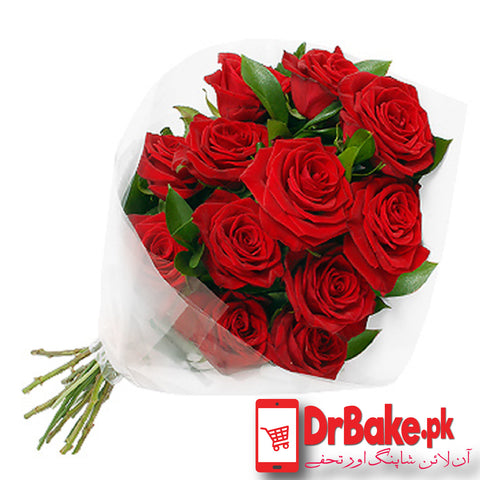 12 Fresh Red Roses stems - Dr Bake Pakistan Send gifts to Lahore, Karachi, Islamabad, Pakistan