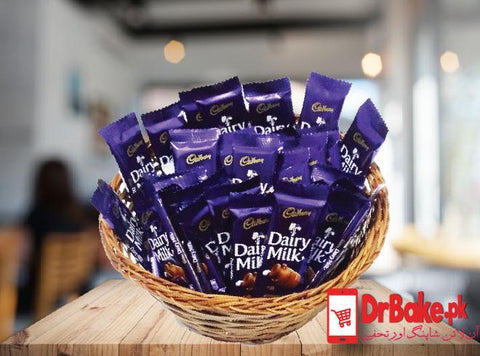 Dairy Milk Basket+ FREE GIFT PACKING (24 Pcs 9 gram each) - Dr Bake Pakistan Send gifts to Lahore, Karachi, Islamabad, Pakistan