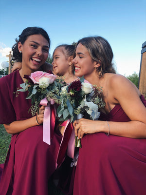 bridesmaids in burgundy by catalfo dresses