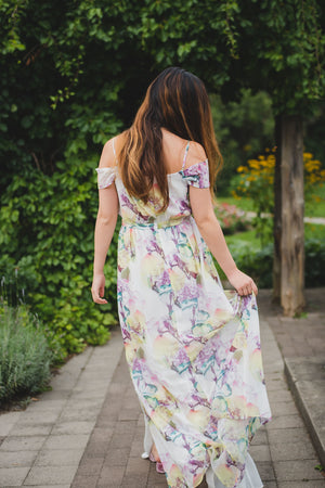 flowy bridesmaid dress with off the shoulder sleeves for a modern, outdoor wedding