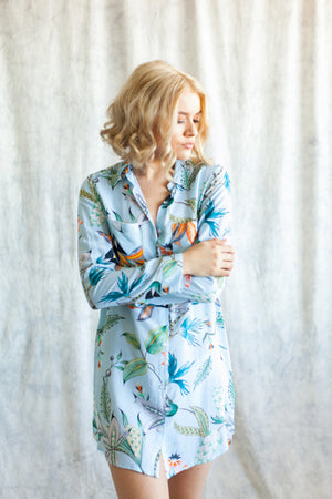 Light blue boyfriend shirt and sleep shirt from by catalfo in the Capri tropical floral print