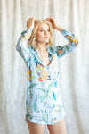 Light blue floral print boyfriend shirt for getting-ready or beach cover up