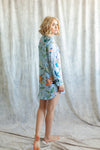 Floral print boyfriend shirt for getting-ready or beach cover up