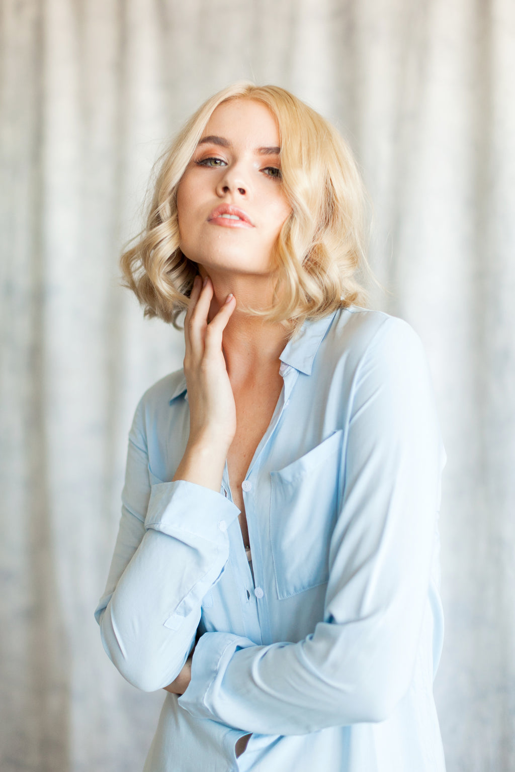 By Catalfo boyfriend shirt in chambray blue, for getting-ready