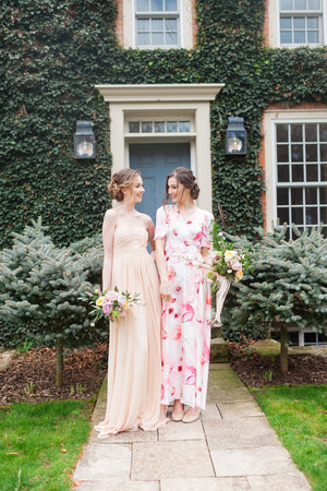 peach and coral modern bridesmaid dresses for a vineyard wedding
