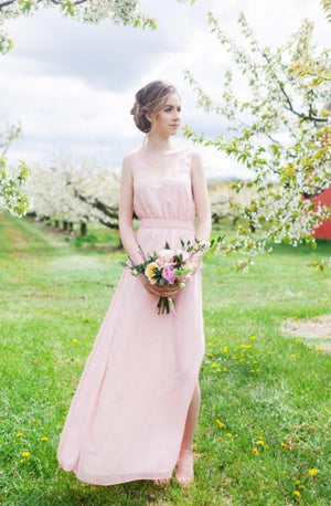 Alissa Dress (Custom Colour) | Long flowy bridesmaid dress with pockets and low back | Toronto
