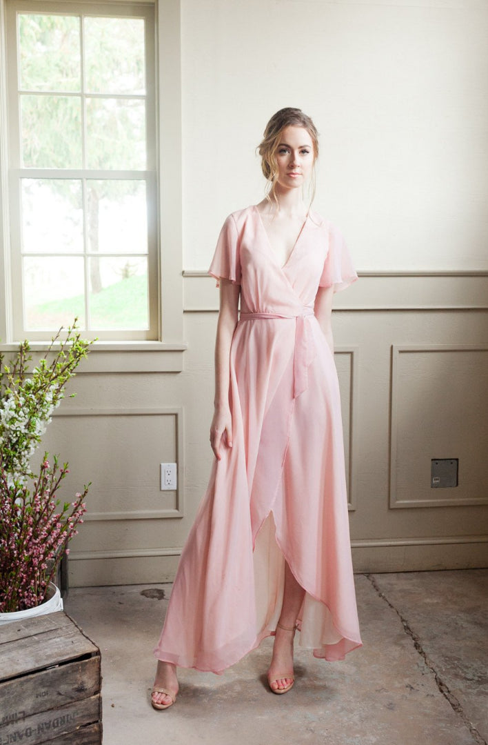 Flowy Wrap Dress (Custom Colour) | Blush, flowy custom wrap dress for bridesmaids