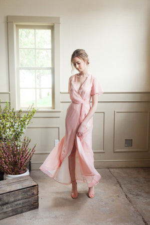 Flowy Wrap Dress in Blush, for bridesmaids | Custom colours available