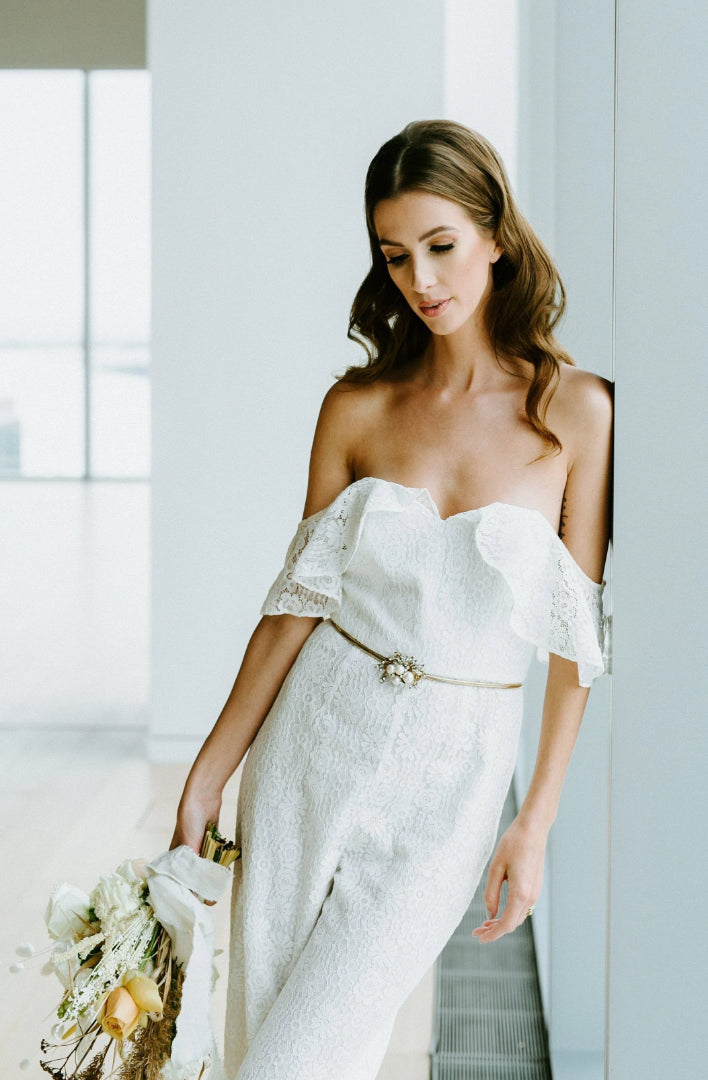 'Willow' Bridal Jumpsuit | Off the shoulder wedding jumpsuit in textured lace, for the modern bride | Toronto bridal jumpsuit