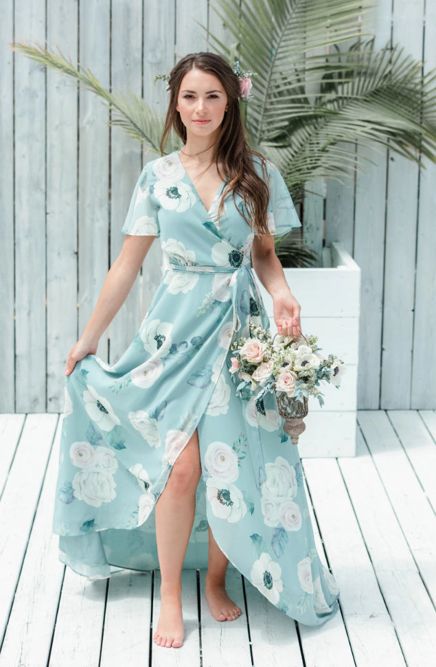 sage green custom bridesmaid dress for modern bridesmaids