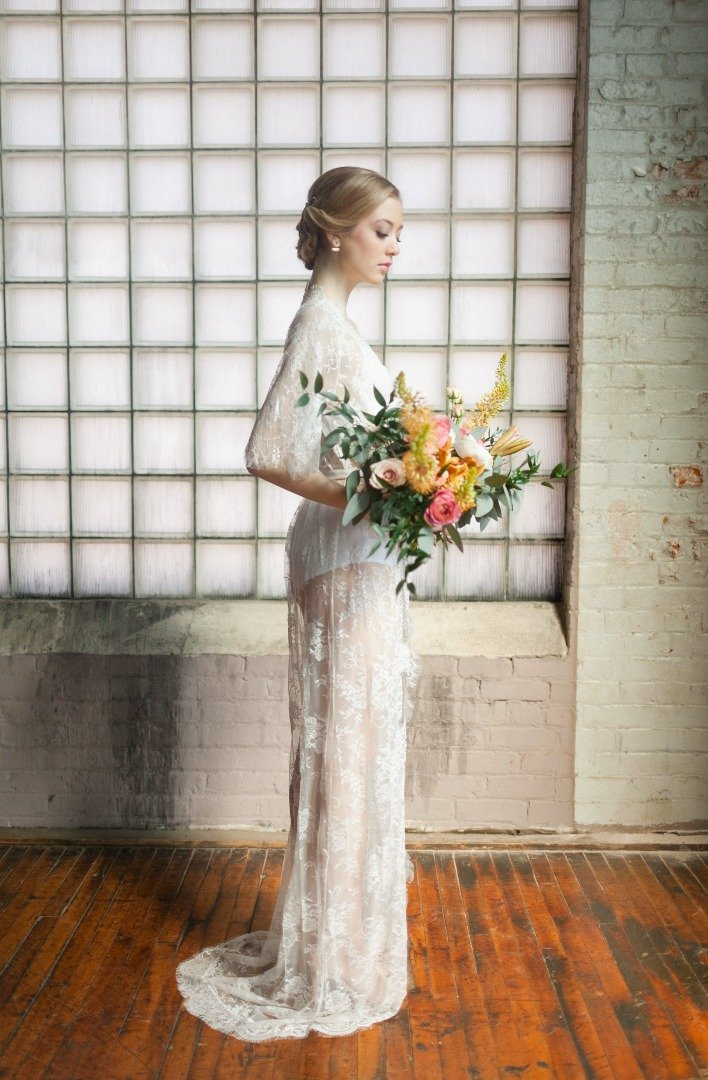 Long lace bridal robe from By Catalfo, for getting ready.