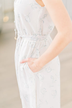 Alissa Dress (Floral Print) | White floral print, long flowy bridesmaid dress with pockets and low back | Toronto