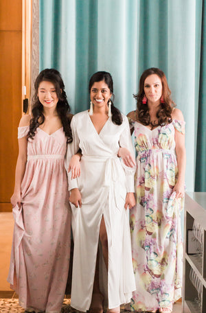 custom floral print bridesmaid dresses with off the shoulder sleeves, for a modern wedding