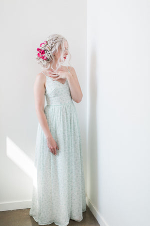 sage green modern bridesmaid dress with skirt slit from by catalfo