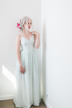 custom design, sage green modern bridesmaid dress with skirt slit from by catalfo