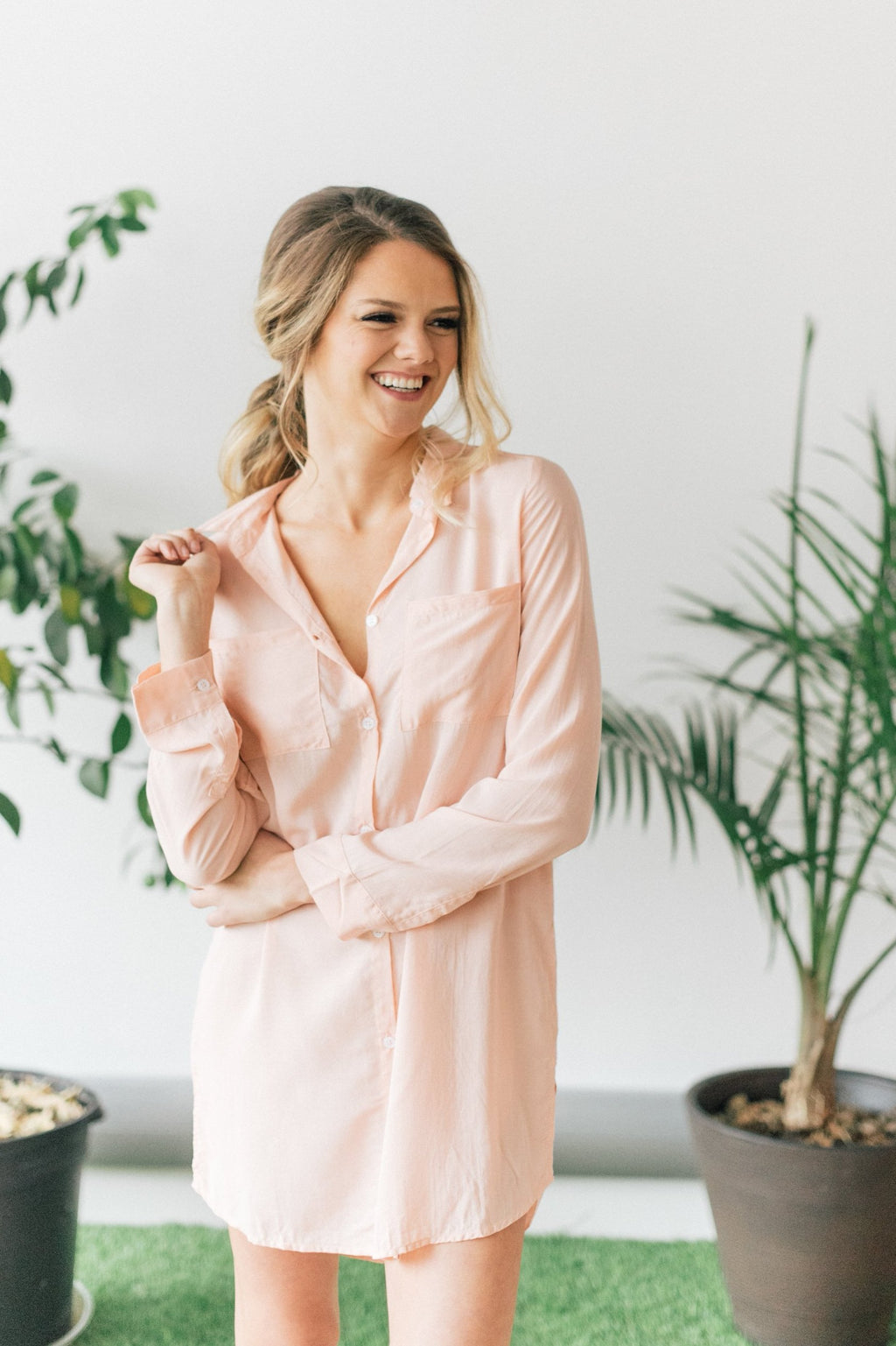 Peach boyfriend shirt for getting ready or bridesmaid gifts