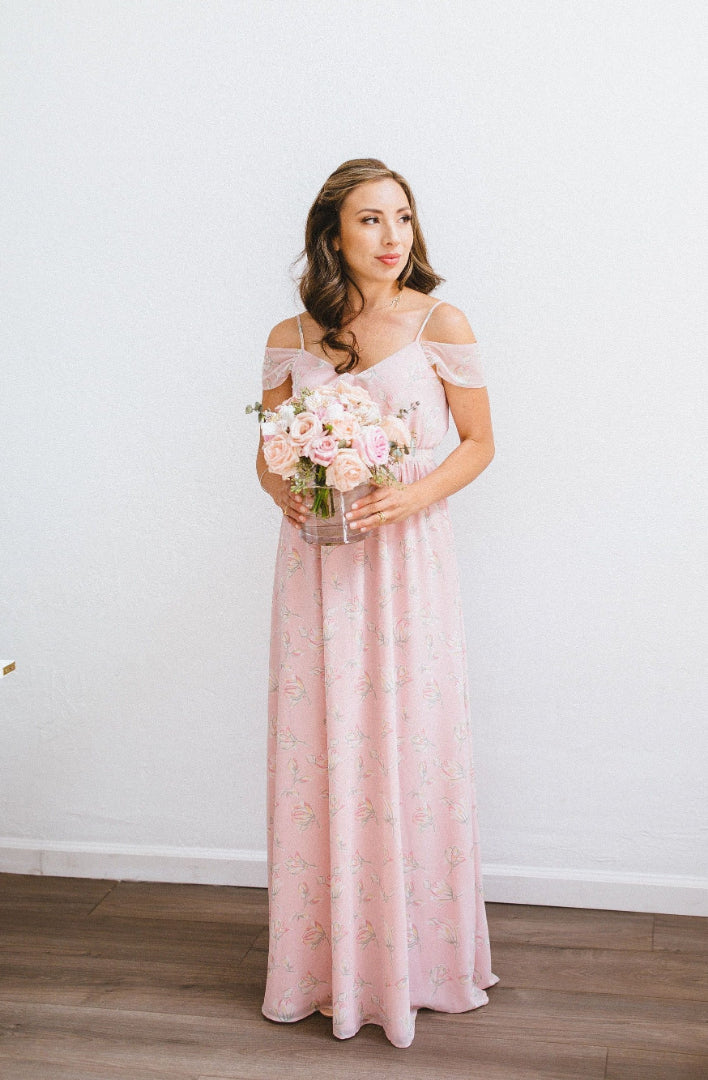 blush floral print bridesmaid dress in toronto with off the shoulder sleeves