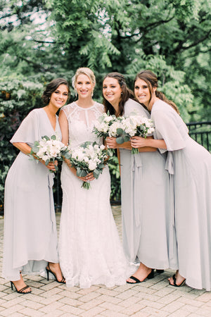 Flowy Wrap Dress in Gray, for bridesmaids