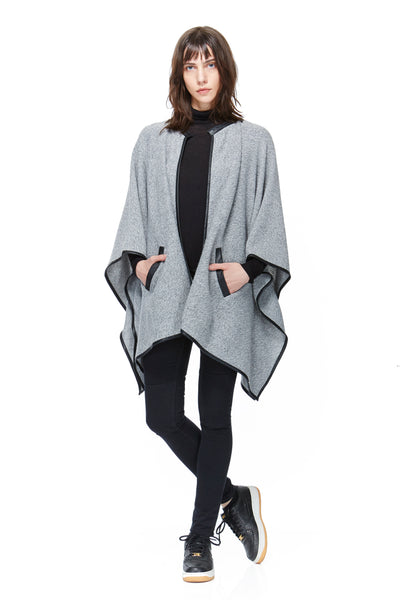 SC8037 Sweater Poncho with Leather Detail