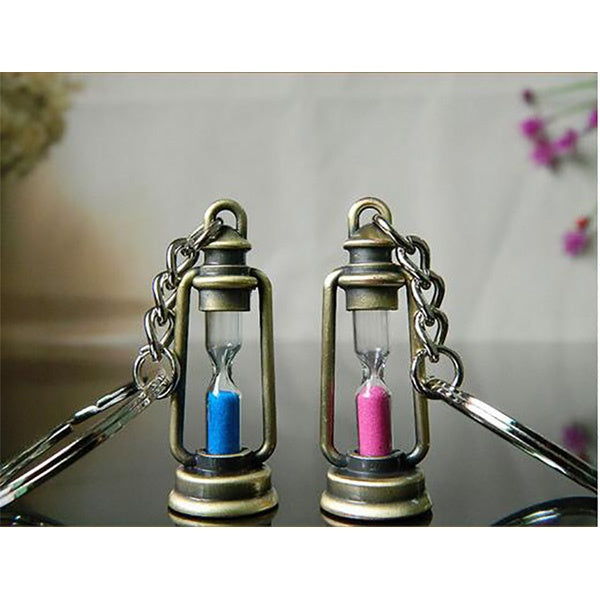 Antique Lantern Key Chain Sand Timer