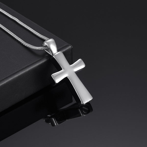 Silver Tone Cross Keepsake Necklace or Keychain