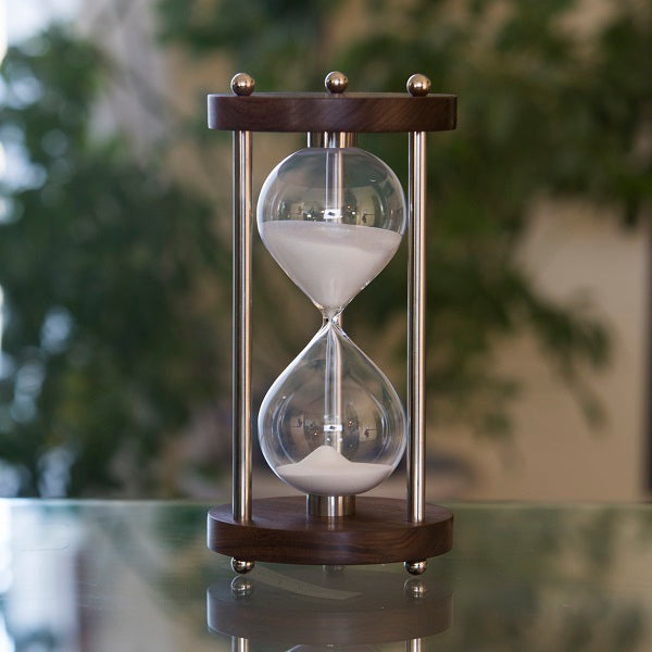 Solid Walnut 60 Minute Hourglass With Metal Spindles