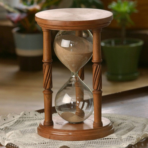 Solid Cherry Wood Hourglass With Spiral Spindles
