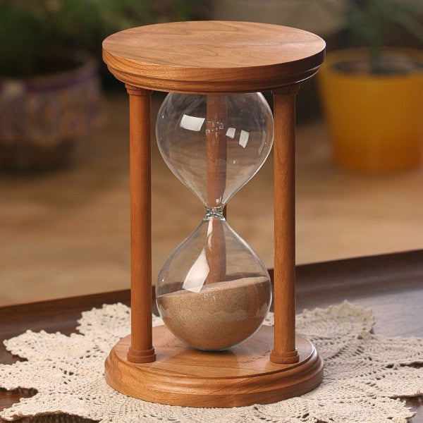 Solid Cherry Wood Hourglass With Smooth Spindles