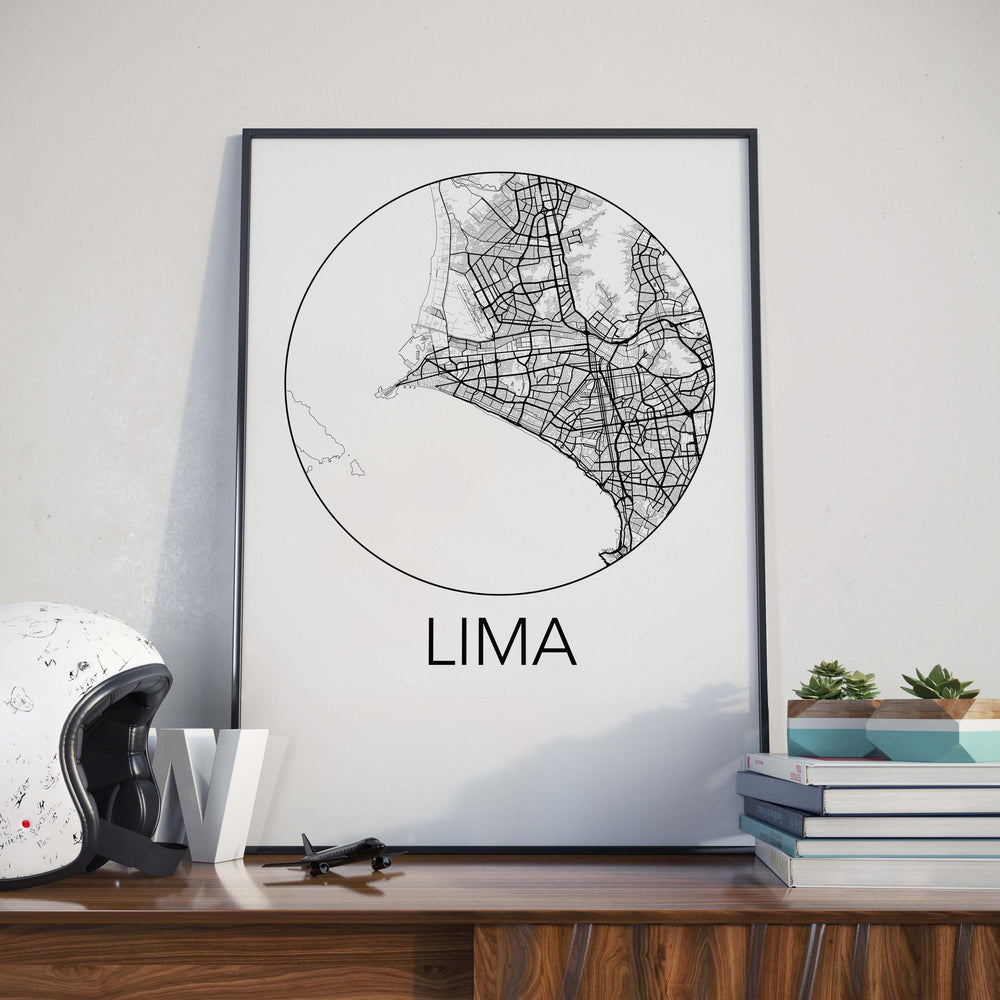 Decorate your home or office with a Lima, Peru Minimalist City Map Print from The Neighbourhood Unit