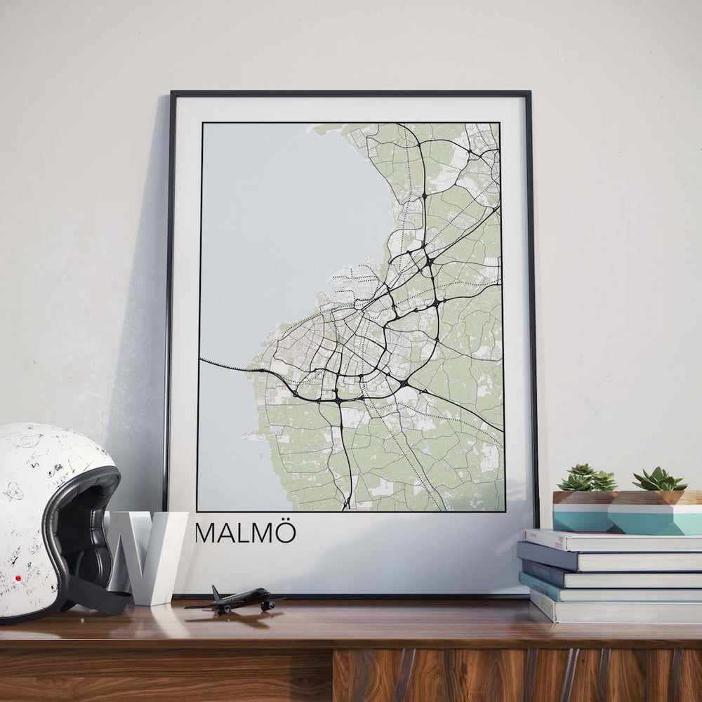 Decorate your home or office with a Malmo, Sweden Minimalist City Map Print from The Neighbourhood Unit