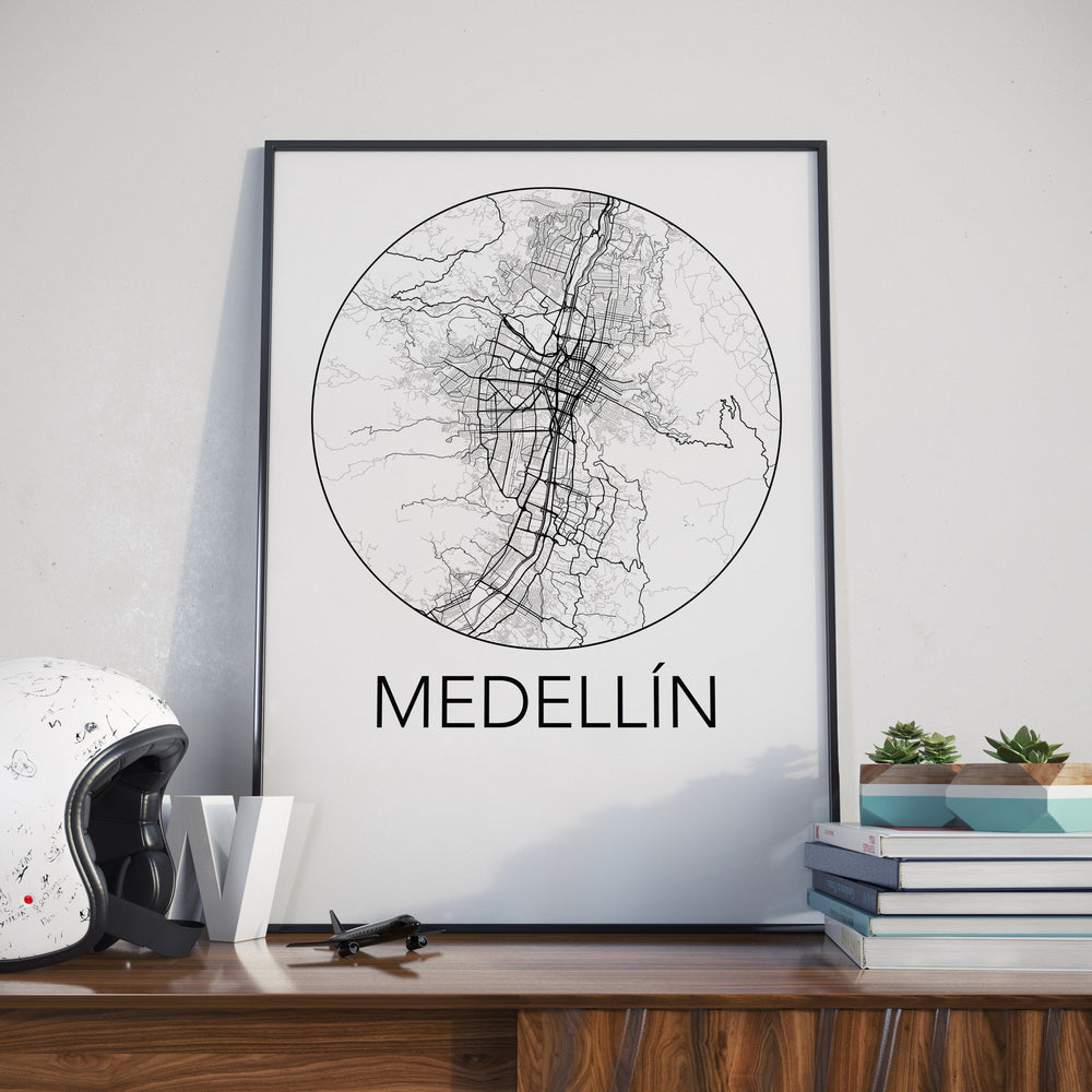 Decorate your home or office with a Medellin, Colombia Minimalist City Map Print from The Neighbourhood Unit