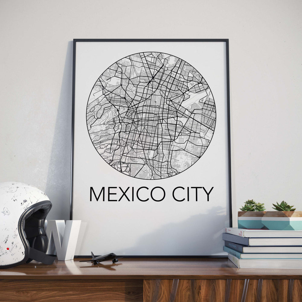 Decorate your home or office with a Mexico City, Mexico Minimalist City Map Print from The Neighbourhood Unit