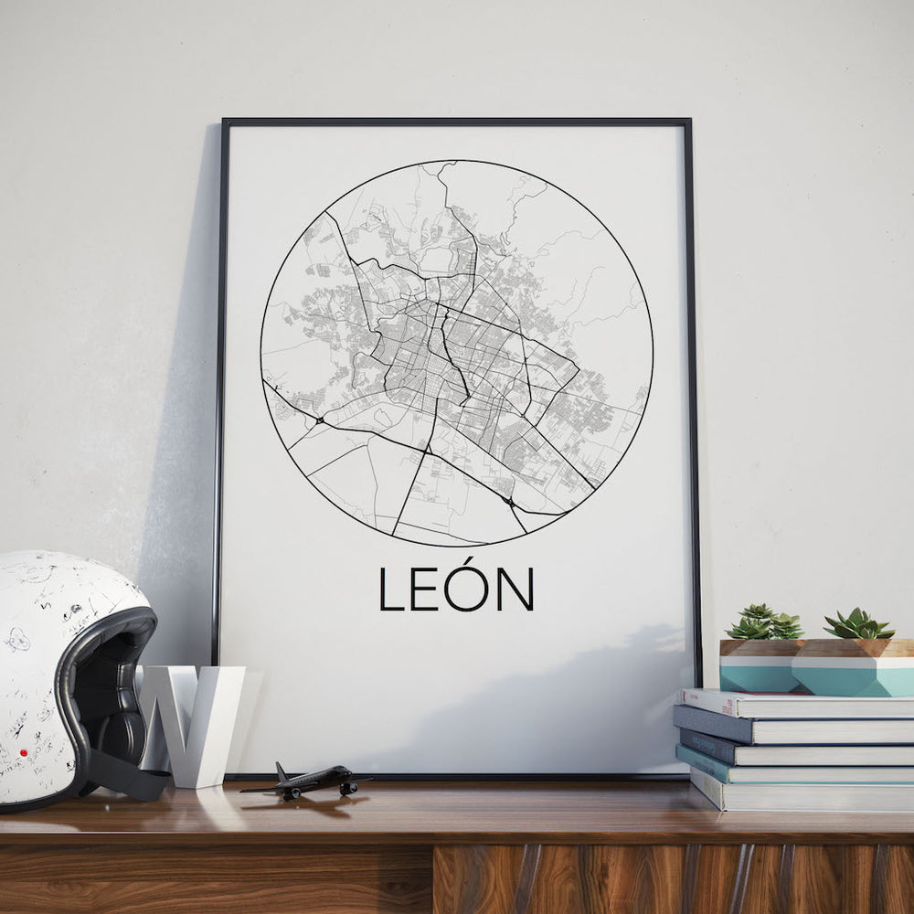 Decorate your home or office with a Leon, Mexico Minimalist City Map Print from The Neighbourhood Unit