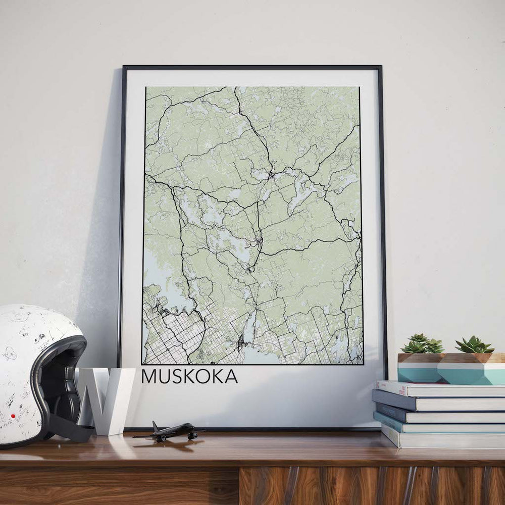 Decorate your home or office with a Muskoka, Ontario Minimalist City Map Print from The Neighbourhood Unit