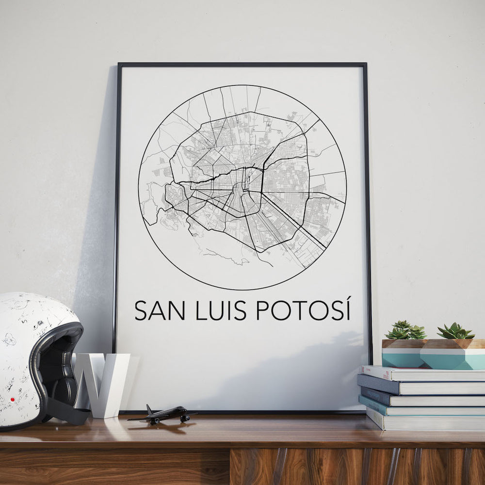 Decorate your home or office with a San Luis Potosi, Mexico Minimalist City Map Print from The Neighbourhood Unit